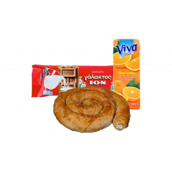 ΤΥΡΟΠΙΤΑ ΣΤΡΙΦΤΗ, Σοκολάτα ΙΟΝ γάλακτος , ΧΥΜΟΣ συσκευασμένος πορτοκαλιού